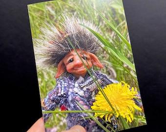 Elf Greeting Card, Happy Garden Fairy Sniffing a Dandelion, 5x7 inch Portrait or Vertical Original OOAK Art Card