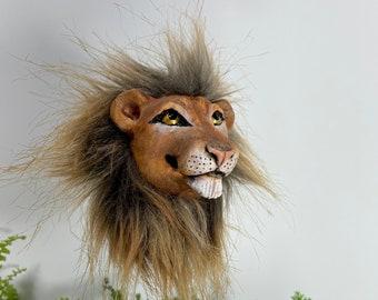 Lion ornament, Christmas tree big cat decoration, handmade in Nova Scotia