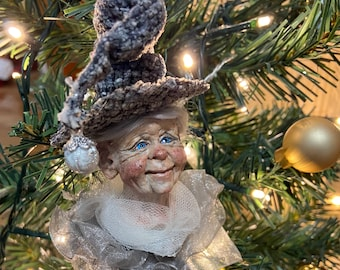 Winter Witch ornament with frosty gray hair, Christmas ornament, made in Nova Scotia