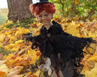 Witch ornament with red hair, Halloween dangle decoration, made in Nova Scotia