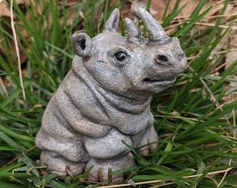 Hand-Sculpted Rhino Baby, Rhinoceros Sculpture, Young Calf, Rhinocerotidae Figurine, a Black or White Rhino, Made in Nova Scotia, Canada