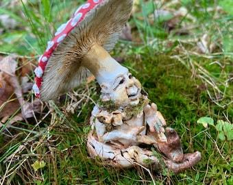 Hand-Sculpted Mushroom Elf, red capped, Amanita Muscaria, Magic mushroom art doll, fairy fae sculpture