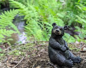 Black Bear sculpture, handmade sitting figurine, made in Nova Scotia