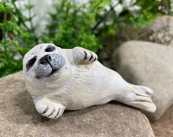 Baby Harp Seal Figurine, chubby seal sculpture, Handmade in Nova Scotia