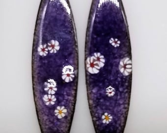 Handmade Enameled Earrings - Sterling Silver ear wires, Swarovski, Purple and Daisies