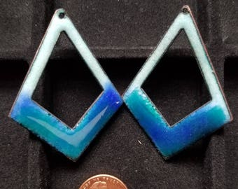 Enameled Earring Components - cutout diamond, blues