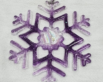 Glass snowflake with sparkly dichroic, ready to hang, 5""