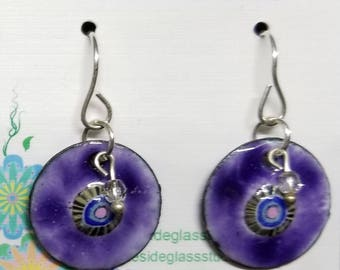 Handmade Enameled Earrings - Sterling Silver ear wires, Swarovski, Purple