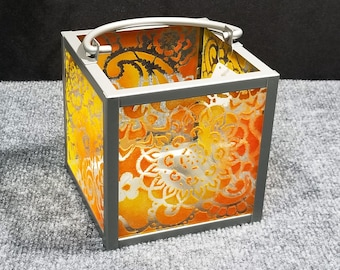 Candle Lantern - Paisley Mandala pattern, orange/yellow, 6x6""