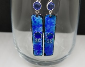 Handmade Enameled Cloisonne Earrings - Sterling Silver ear wires, Swarovski, Blue