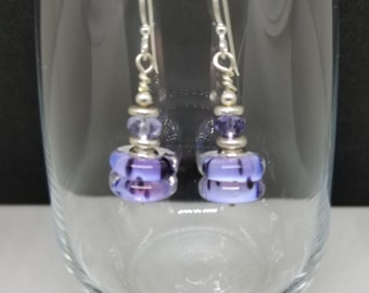 Handmade Lampwork Earrings - Sterling Silver ear wires, lavender