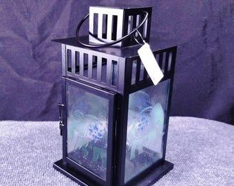 """Candle Lantern - Pale Green Elephant Pattern 8x11"""""""
