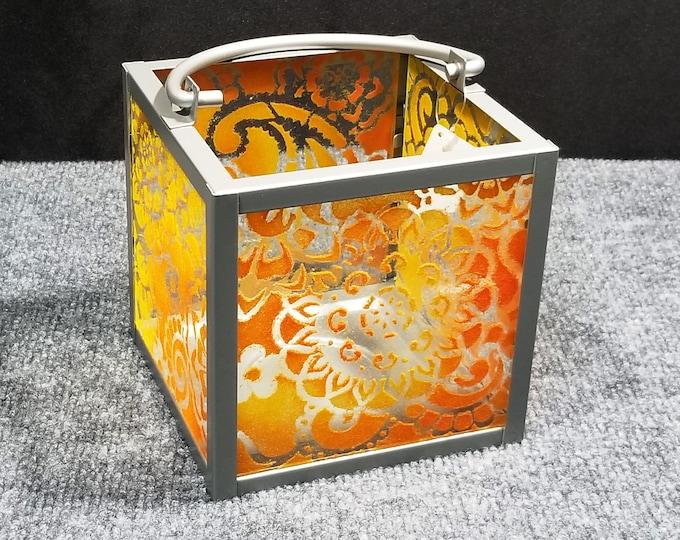 "Featured listing image: Candle Lantern - Paisley Mandala pattern, orange/yellow, 6x6"""