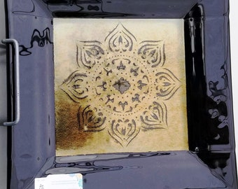 "10"" Black and Gold Serving Dish w/ Mandala Pattern"