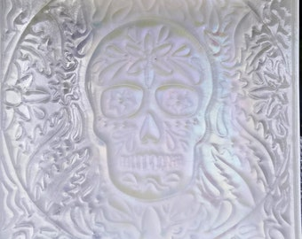"""10"""" dia de los Muertos plate - iridescent white"""