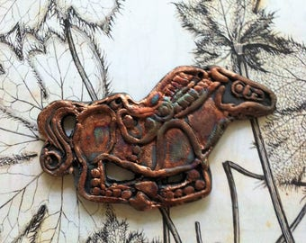 9. Anglo Saxon Inspired  Horse Medallion  Copper Teal Green Raku Cabochon Cosplay Middle Ages