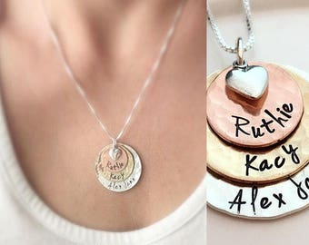 0ad107718 Mother's Day Personalized Gift for Mom - Hammered Disk Necklace - Personalized  Mothers Necklace - Grandma Gift - Custom Name Necklace