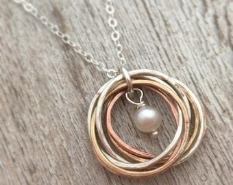 Tri Metal key necklace tri metal necklace copper key necklace metals necklace copper bronze gunmetal necklace metals necklace gift for her
