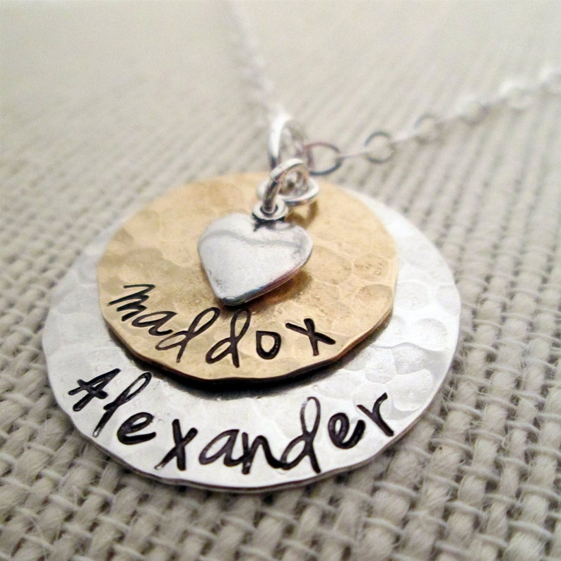 Layered Love  Mom Necklace  hand stamped necklace  image 1