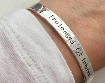 Custom Medic Alert Bracelet Personalized Bracelet -  hand stamped sterling silver cuff bracelet - Medical Alert ID bracelet
