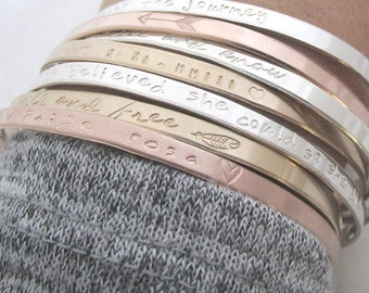 ONE Personalized Skinny Cuff Bracelet - Handstamped Bracelet - Dainty Cuff -  Inspirational Jewelry - Stacking bracelets  - Arrow Bracelet