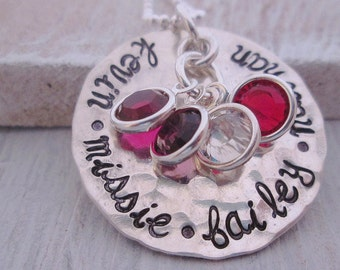 Hand stamped Necklace- Mother's Necklace  Personalized Mother's Necklace - grandmother jewelry