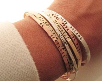 ONE Skinny Cuff Bracelet - Handstamped Bracelet -  Quote -  Inspirational Jewelry - Dainty Stacking bracelets - Coordinates - Arrow Bracelet
