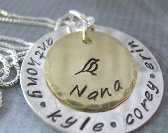 Grandma Necklace - Grandma Jewelry - Mother's Day  -  Nana necklace - personalized jewelry - Personalized Necklace - Hand Stamped Necklace