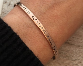 Mimi Bracelet - Rose Gold filled cuff bracelet  - hand stamped jewelry - skinny cuff - stacking bracelets - My Greatest Blessings