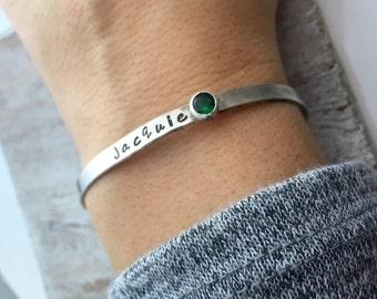 Personalized Cuff Bracelet - Handstamped Bracelet - Gift for her - Birthstone Bracelet - Skinny Stacking bracelets  - Silver Bracelet- Mom