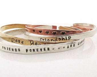 Friendship Bracelets Skinny Cuff Bracelets - Handstamped Bracelets - Inspirational Jewelry - Stacking bracelets -