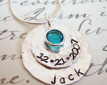 hand stamped mothers necklace Celebrate sterling silver personalized necklace New Mommy Necklace
