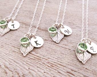 Bridesmaid Jewelry - Bridesmaid Necklaces - Set of 8 - Bridesmaid Initial Necklace - Leaf Necklaces