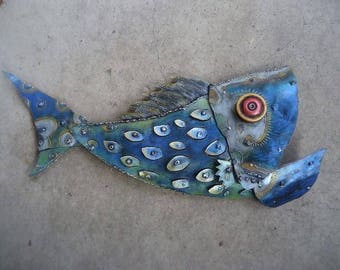 Happy Blue Fish sculpture made from recycled steel