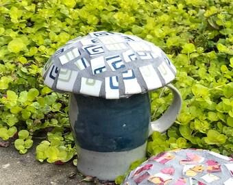 Mosaic Mushroom - Garden Decor - Fairy House - Broken China Mosaic Blue Gray Pottery