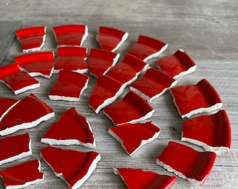 Mosaic Tiles Red 20 + Hand Cut Pieces - German Made Ceramic - Hot Cherry Red