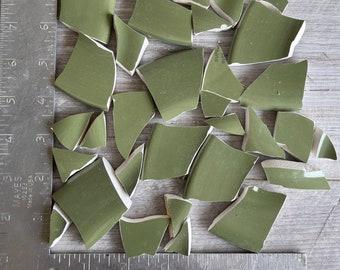 Mosaic Tiles Green 20 + Hand Cut Pieces - Ceramic - Mixed Lot Grassy Green Avocado Green