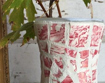 Broken China Mosaic Vase - Red and White Transferware