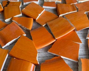 Mosaic Tiles Orange 90 + Hand Cut Pieces - Ceramic - Fire Bright Orange