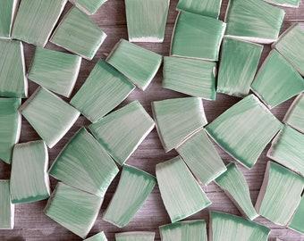 Mosaic Tiles Minty Green 20 + Hand Cut Pieces - Ceramic - Mixed Lot - Mint Light Green Watercolor