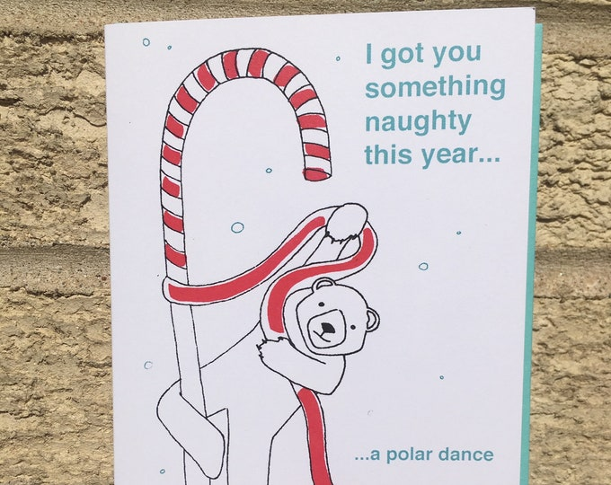 Funny Christmas Card, Naughty Christmas Card, Canadian Christmas, Polar Bear Christmas Card, Pole Dance Card, Stripper Card