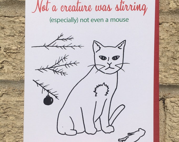 Funny Christmas Card, Not A Creature Was Stirring, Cat Lovers Christmas Card, The Night Before Christmas Card, Pet Lovers Card, Dark Humor