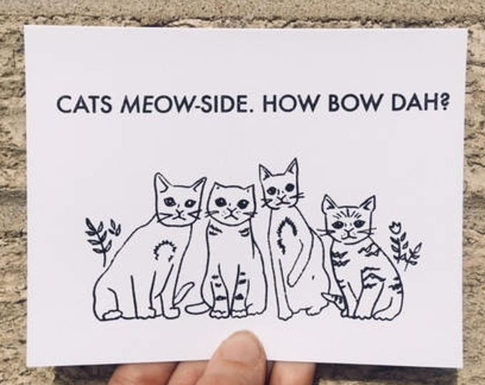 "Funny Birthday Card, Cash Me Outside, Cash Me Ousside, ""Cats Meow-side,"" How Bow Dah - How Bow Dat, Birthday Card Funny, Hipster Card, Cats"