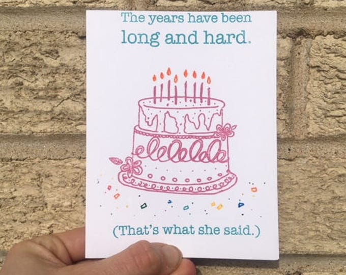 The Office Birthday Card - That's What She Said, Funny Birthday Card, The Office Inspired, Michael Scott,  Dwight Schrute, Jim and Pam,