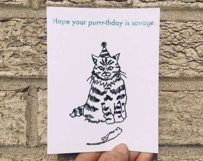 Funny Birthday Card - Savage Purrrthday Card, Cat Lovers Birthday Card, Birthday Card Funny, Hipster Birthday, Cat Birthday, Card from cat