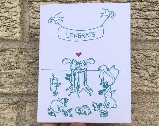 Funny Wedding Card - Woodland Wedding Card, Gender Neutral Wedding Card, Gay Wedding Card, Lesbian Wedding Card, Simple Wedding, Outdoor