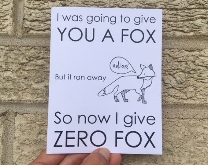 Funny Birthday Card - Zero Fox, Birthday Card Funny, Fox Card, Card for Brother, Sarcastic Card, Funny Card for Friend, Card For Him