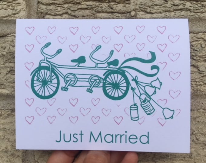 Cute Wedding Card - Tandem Bicycle Built For Two, Wedding Card, Wedding Invitations, for Athletes, Bikes, Bicycle, Triathlete, Romantic