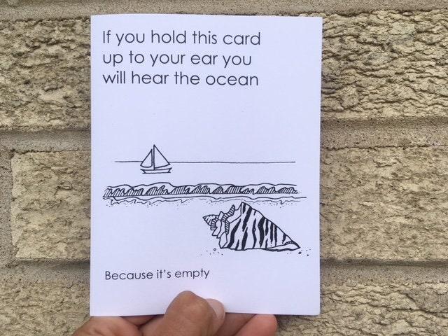 Funny Birthday Card You Can Hear The Ocean Funny Wedding Card
