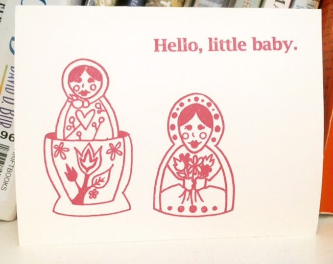 Funny New Baby Card - Hello Little Baby, Matrioshka Dolls New Baby, New Baby Card, Baby Shower Invitation, Baby Congratulations, Baby Girl